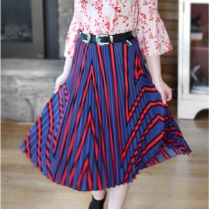 H&M Red/Blue Striped Pleated Midi Skirt Size XS